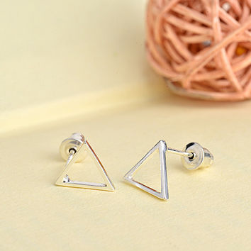 Womens Simple Hollow Triangle Fashion Earrings