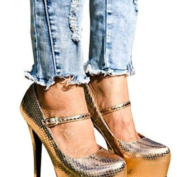 Leather High Heels Riplay Faux Almond Toe Style Platform 6 Inch