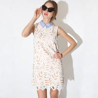 Sleeveless Pointed Flat Collar Crochet Lace Shift Mini Dress