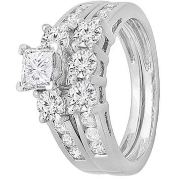 CERTIFIED 1.90 Carat 14K White Gold Princess & Round Diamond 3 Stone Bridal Engagement Ring Set