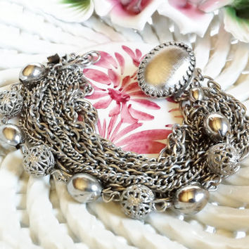 Silver Chain Bracelet, Multi Strand, Multi Chain, Petite Size, Silver Filigree Ball Beads, Vintage 1970s