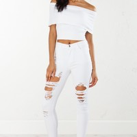 Mid Rise Distressed Denim in Black,White and Dusty Rose