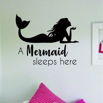 A Mermaid Sleeps Here Wall Decal Sticker Vinyl Art Decor Room Bedroom Inspirational Girls Teen Ocean Beach Sea Cute Quote Baby Nursery