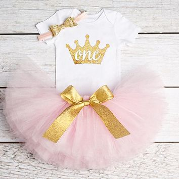 Infant Toddler Baby Girls Clothing Dresses Princess Party Short Sleeve Cotton Flower Cute Kids Tutu Dress 1st Birthday Party
