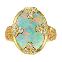 "Crevoshay ""Grant Us Peace"" Opal Diamond 18k Ring"