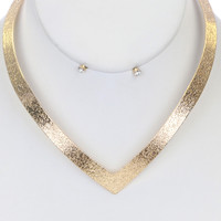 Deep V Necklace in Gold