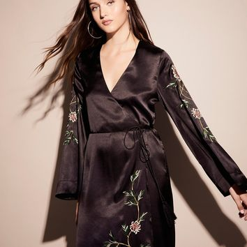 Free People Embroidered Wrap Kimono Dress