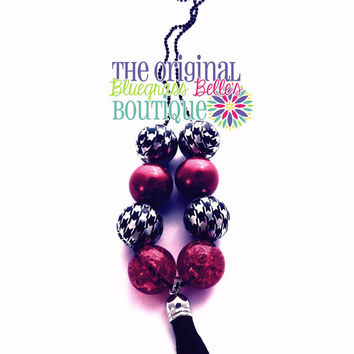 Red and black beaded ball chain tassel necklace