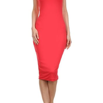 Sexy Strapless Slim Fitted Stretch Bodycon Tube Party + Clubbing Midi Dress