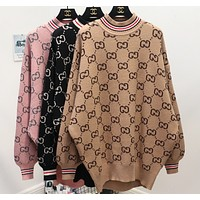 Gucci Fashion Trending Print Long Sleeve Pullover Medium length Sweater G