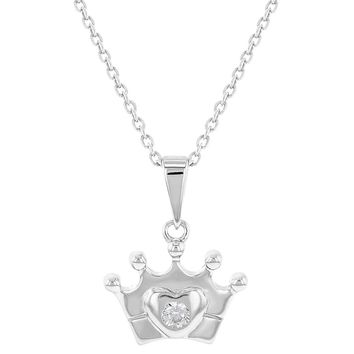 """925 Sterling Silver Clear CZ Crown Heart Princess Pendant Necklace Girl Teens 16"""""""