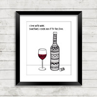 Wine Art Print, Wine Art, Wine Prints, Zentangle