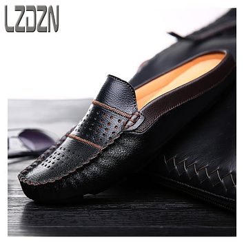The British men's leather shoes summer lazy beans backless slippers sandals Mens foot sandals.