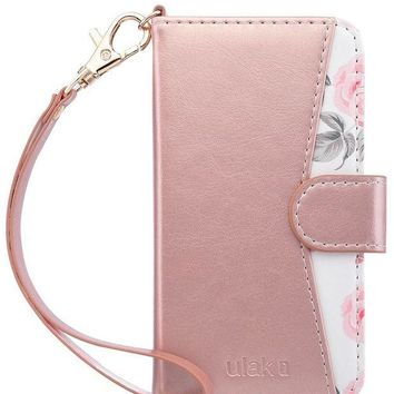 LMFMS6 iPhone 6s Case ,iPhone 6 Case,ULAK iPhone 6S Wallet Case With Card Holder and Kickstand Shockproof PU Leather Cover with Hand Strap for Apple iPhone 6s/6 4.7, Rose Gold Flower