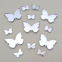 "Butterfly Big Wings Mirrors Pack of 20 (Size of each butterfly 1.5"" wide by 1.1"" height) (3cm X 2cm)"