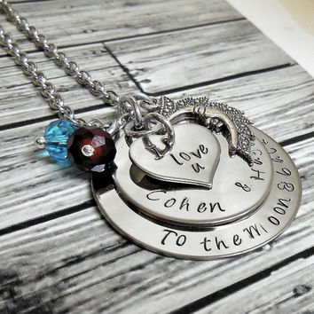 "Stainless ""I Love You To The Moon"" Personalized Add A Name/Names Necklace / I Love You Too The Moon And Back Hand Stamped Necklace"