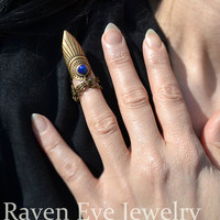 Jeweled Finger Nail Armor Ring with chains