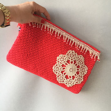 Red Crochet Clutch, Handbag