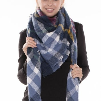 Navy Plaid Fringed Trim Blanket Scarf - Yellow
