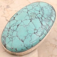 Valuable Turquoise Ring in 925 Sterling Silver