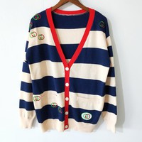 GUCCI Newest Hot Sale Women Casual Stripe Long Sleeve Cardigan Jacket Coat Sweater