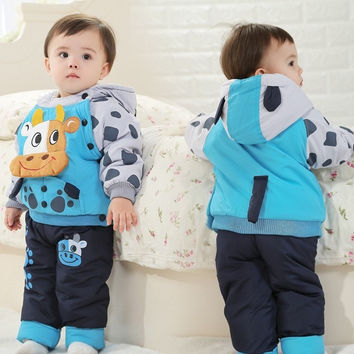 2016 NEW children's winter clothing sets with cow bull style baby winter suit and pant boys & girls winter outwear C168