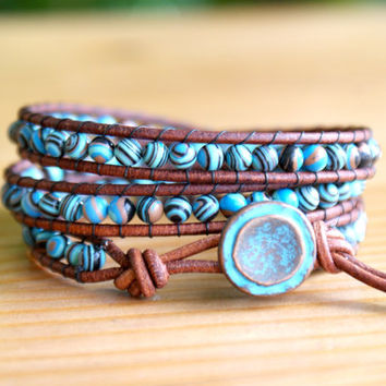 Turquoise Composite Bohemian beaded leather wrap bracelet, Blue, Brown, trendy boho shabby chic, gift idea, sale, hipster by OlenaDesigns
