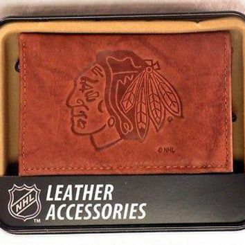 Chicago Blackhawks NHL Embossed Brown Leather Trifold Wallet NEW in Gift Tin
