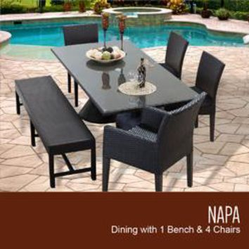 Napa Rectangular Outdoor Patio Dining Table with 2 Armless Chairs 2 Chairs w/ Arms and 1 Bench