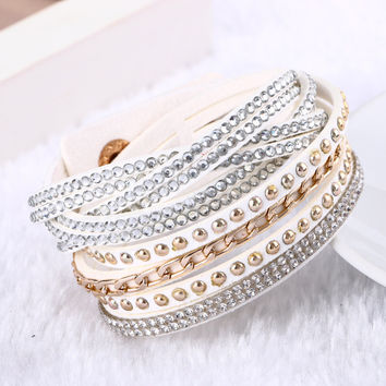 Multilayer Leather Button Bracelet Vintage Crystal Rhinestones Charm Bracelets Jewelry For Women Pulsera Statement Jewelry