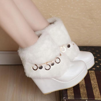 Elegant Chain Fake Fur Embellished Wedge Boots White = 1932504964