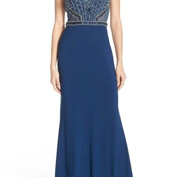 Sean Collection Beaded Cutout Back Cap Sleeve Gown | Nordstrom