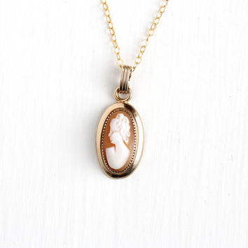 Vintage Carved Shell Cameo 10k Gold Filled Pendant Necklace - 1940s 1950s Mid-Century Bezel Set Lady Silhouette Female Jewelry