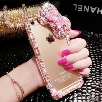 Cute Bow Phone Case For iPhone 7 7s for iphone 7 7s plus for iphone6 6s plus Handmade diy Bling Crystal Soft Phone Case