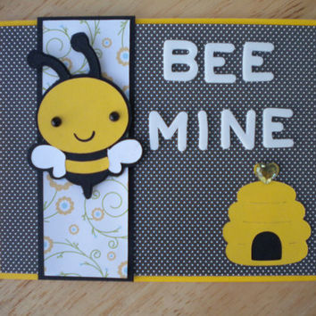 Bee Mine Valentines Card Free Shipping by lilaccottagecards