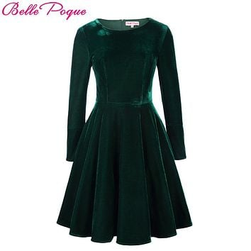 Belle Poque Winter Velvet Dress 2017 Big Swing Long Sleeve Green Tunic Elegant Women Clothing Casual Retro Vintage Party Dresses