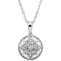 "Sterling Silver .05 CTW Diamond Granulated Filigree Pendant 18"" Necklace"