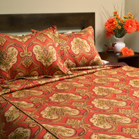 Kashmiri Corded Comforter Set - Down Alternative With 2 Flanged Shams Made in the USA by Brite Ideas Living