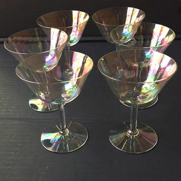 Iridescent Crystal Champagne Coupes, Set of 6 Crystal Champagne Glasses, Vintage Martini or Cocktail Glasses, Mid Century Champagne Glasses
