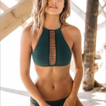 Green high-necked sexy bikini sexy swimwear