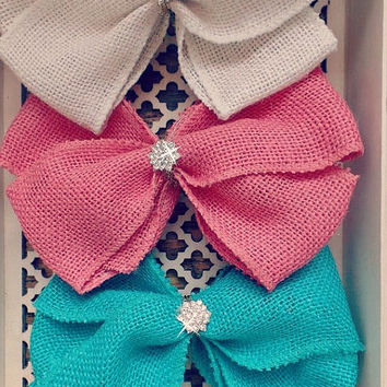 "LARGE HAIRBOW, big, over the top, giant burlap bow, 7""  rhinestone, coral, teal, ivory, clip, headband, sew sassy, m2m matilda jane baby"