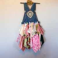 RESERVED Women's Shabby Tattered Raw Overall Dress / Mori Girl Clothing / Gypsy Cowgirl Beachy Clothes