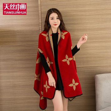 TSJH Winter Scarf Stoles Red Bandana Ladies Fashion Poncho Warm Ponchos Capes Long Wrap Mujer Women Cape Autumn Shawl Coats 2018