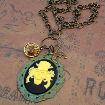 Guns and Roses pirate skull necklace with gun by SassyBelleWares
