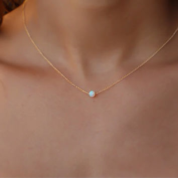 Opal necklace, opal ball necklace, opal gold necklace, opal jewelry, tiny dot necklace, opal bead necklace, dot necklace, white opal