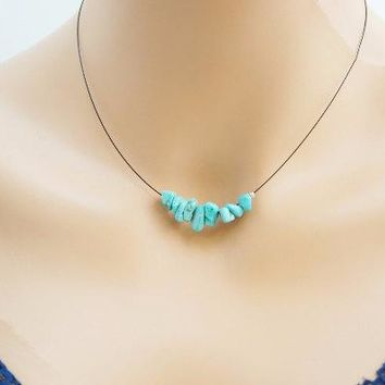 Turquoise Necklace, Turquoise Chips Bar Choker Necklace, December Birthstone, Throat Chakra Healing, Yoga Necklace, Bridesmaid Necklace