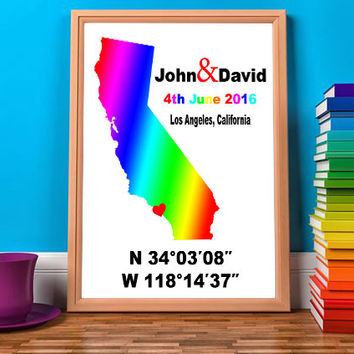 Gay Wedding Gifts - Custom Coordinates - Coordinates Sign - Gifts For Gay Men - Lesbian Wedding - Lgbt Marriage - Paper Gift Ideas