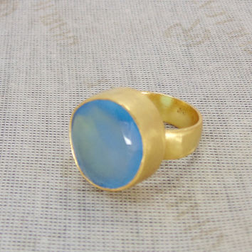 Blue Chalcedony Ring - Gold Vermeil Ring - Round Gemstone Ring - Handmade Ring - Big Stone Ring - Statement Ring - Birthday Gift Ideas