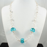 Turquoise Glass Necklace Hollow Blue Lampwork Beads with Sterling Silver beads and findings