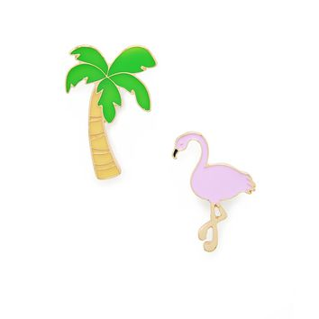 Flamingo and Palm Tree Pin Set
